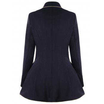 Slim Fit Double Breasted Skirt Blazer - BLACK 2XL