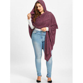 Plus Size Hooded Marled Longline Cape - RUSSET RED 3XL