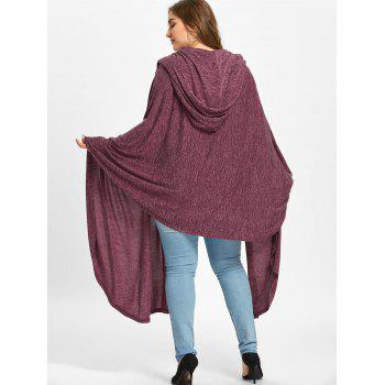 Plus Size Hooded Marled Longline Cape - RUSSET RED 4XL