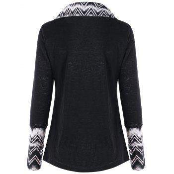 Turndown Collar Chevron Panel Long Sleeve Top - BLACK BLACK