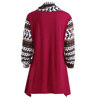 Plus Size Asymmetrical Ethnic Geometric T-shirt - WINE RED 2XL
