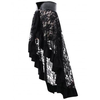 Sheer Ruffle Trim Lace Cape - BLACK XL