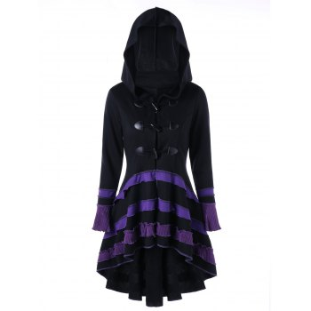 High Low Lace-up Buckle Duffle Coat - BLACK 2XL