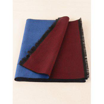 Two Tones Patch Fringed Edge Winter Scarf - ROYALBLUE/WINE RED C