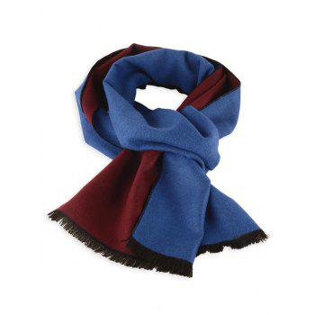 Two Tones Patch Fringed Edge Winter Scarf - ROYALBLUE+WINE RED C3 ROYALBLUE/WINE RED C