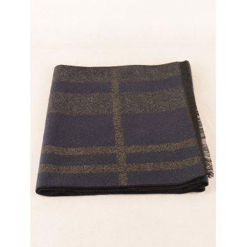 Plaid Pattern Fringed Edge Winter Scarf - CADETBLUE