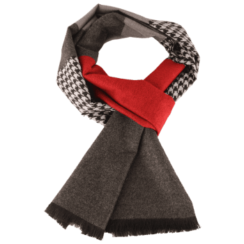 Houndstooth Pattern Fringed Edge Winter Scarf - CLARET