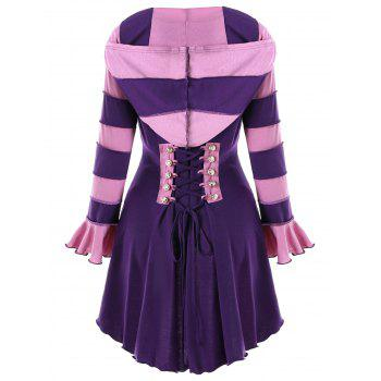 High Low Hooded Corset Double Breasted Coat