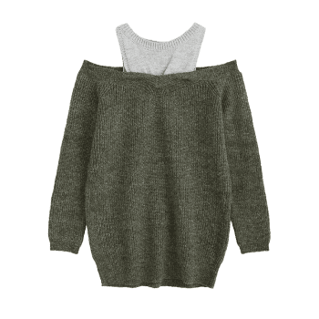 Two Tone Cold Shoulder Tunic Sweater - ARMY GREEN ONE SIZE