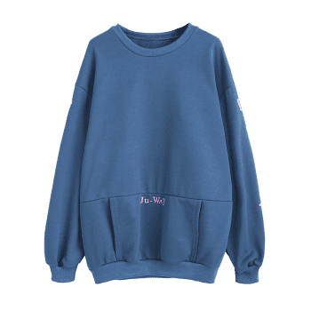 Floral Kangaroo Pocket Tunic Sweatshirt - BLUE ONE SIZE