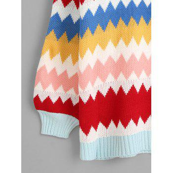 Colorful Zig Zag Tunic Sweater - COLORFUL ONE SIZE