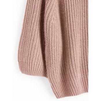 Off Shoulder Chunky Pullover Sweater - NUDE PINK ONE SIZE