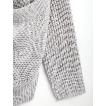 Ribbed Plunging Neck Wrap Sweater - GRAY ONE SIZE