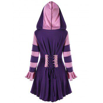 High Low Hooded Corset Double Breasted Coat - PURPLE M