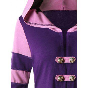 High Low Hooded Corset Double Breasted Coat - PURPLE XL