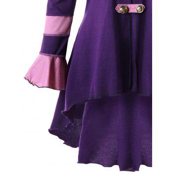 High Low Hooded Corset Double Breasted Coat - PURPLE 2XL