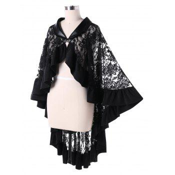 Sheer Ruffle Trim Lace Cape - BLACK 2XL