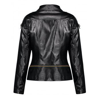 Button Zipper Punk PU Leather Jacket - BLACK L