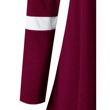 Plus Size Two Tone Color Asymmetric Top - WINE RED XL