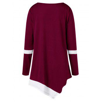 Plus Size Two Tone Color Asymmetric Top - WINE RED 4XL
