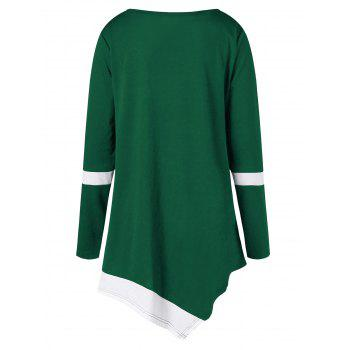Plus Size Two Tone Color Asymmetric Top - GREEN 2XL