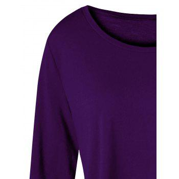 Plus Size Two Tone Color Asymmetric Top - PURPLE 5XL