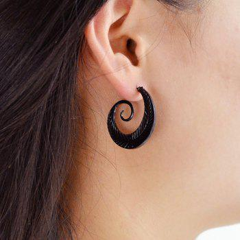 Volume Beard Shape Stud Earrings - BLACK