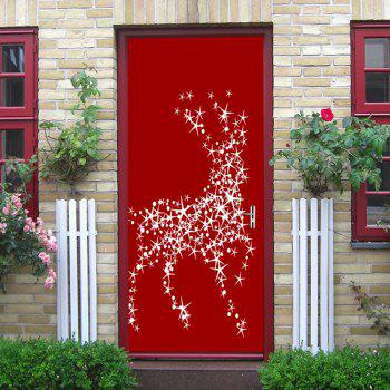 Christmas Star Deers Balls Pattern Door Stickers - RED RED