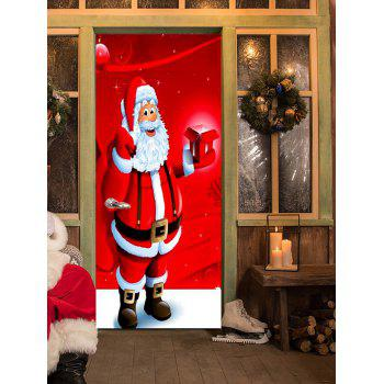 Christmas Santa with Gift Pattern Door Stickers - RED RED