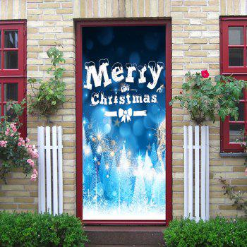Merry Christmas Greeting Pattern Door Stickers - BLUE 38.5*200CM*2PCS