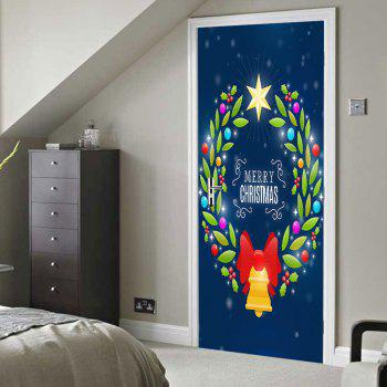 Christmas Wreath Bell Pattern Door Stickers - COLORMIX 38.5*200CM*2PCS