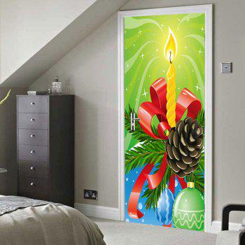 Christmas Candle Ball Pattern Door Stickers - COLORMIX 38.5*200CM*2PCS