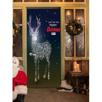 Sparkly Christmas Deer Pattern Door Stickers - COLORMIX 38.5*200CM*2PCS