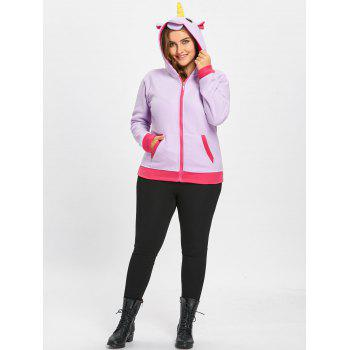 Fleece Plus Size Unicorn Zipper Hoodie with Pocket - PURPLE PURPLE