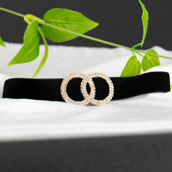 Fake Diamond Velvet Annulus Choker Necklace - BLACK