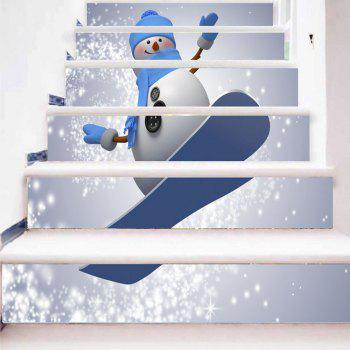Christmas Skateboard Snowman Print Decorative Stair Stickers - COLORMIX 100*18CM*6PCS