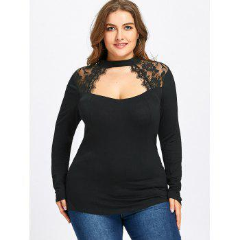Plus Size Lace Panel Keyhole Top - BLACK BLACK