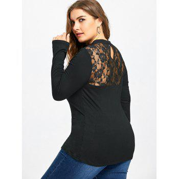 Plus Size Lace Panel Keyhole Top - BLACK 5XL