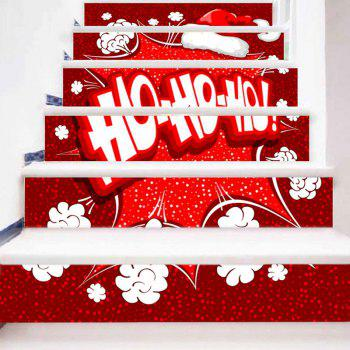 Letter Print Christmas Hat Decorative Stair Stickers - RED/WHITE 100*18CM*6PCS