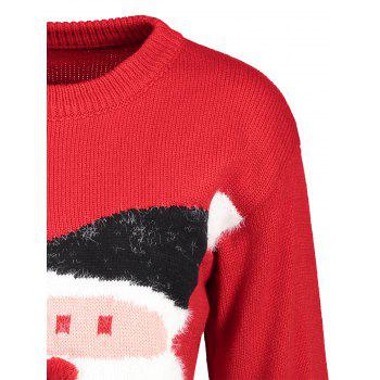 Santa Claus Print Crew Neck Christmas Sweater - RED ONE SIZE