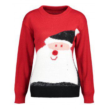 Santa Claus Print Crew Neck Christmas Sweater - RED RED
