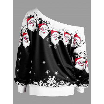 Plus Size Christmas Santa Claus Skew Collar Sweatshirt - BLACK 2XL