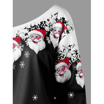 Plus Size Christmas Santa Claus Skew Collar Sweatshirt - BLACK BLACK