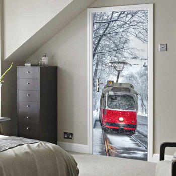 Street Tram Pattern Door Stickers - COLORMIX 38.5*200CM*2PCS