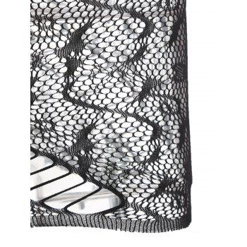 Lingerie One Shoulder Fishnet Dress - BLACK ONE SIZE