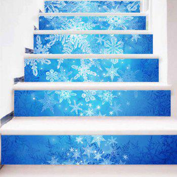 Christmas Snowflake Pattern Removable Stair Stickers - BLUE 100*18CM*6PCS