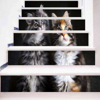 Two Lovely Kittens Pattern Decorative Stair Stickers - BLACK 100*18CM*6PCS