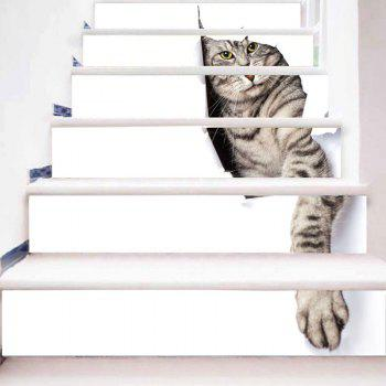 Cute Kitten Printed Decorative 3D Stair Stickers - WHITE 100*18CM*6PCS