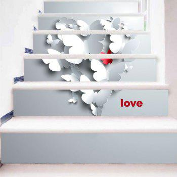 Paper Butterflies Pattern Decorative Stair Stickers - LIGHT GRAY 100*18CM*6PCS