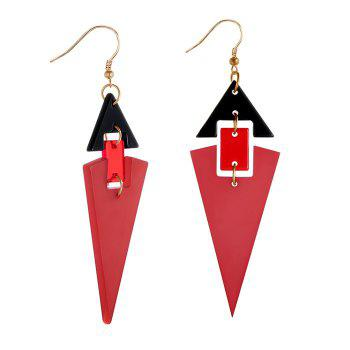 Acrylic Geometric Linked Stud Drop Earrings - RED RED